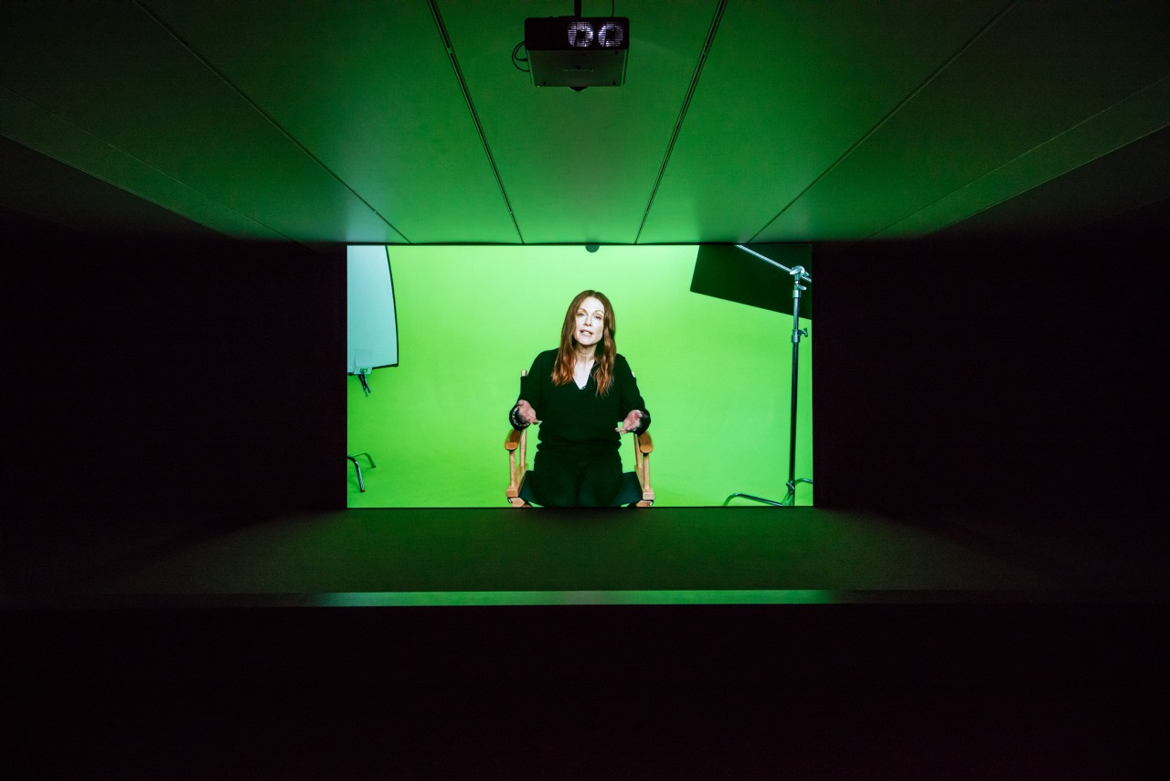 Candice Breitz Love Story, 2016 Featuring Julianne Moore and Alec Baldwin. 7-Channel Installation: 7 Hard Drives Commissioned by the National Gallery of Victoria (Melbourne), Outset Germany (Berlin) + Medienboard Berlin-Brandenburg. Installation View: Kunstmuseum Stuttgart Photograph: Die Arge Lola