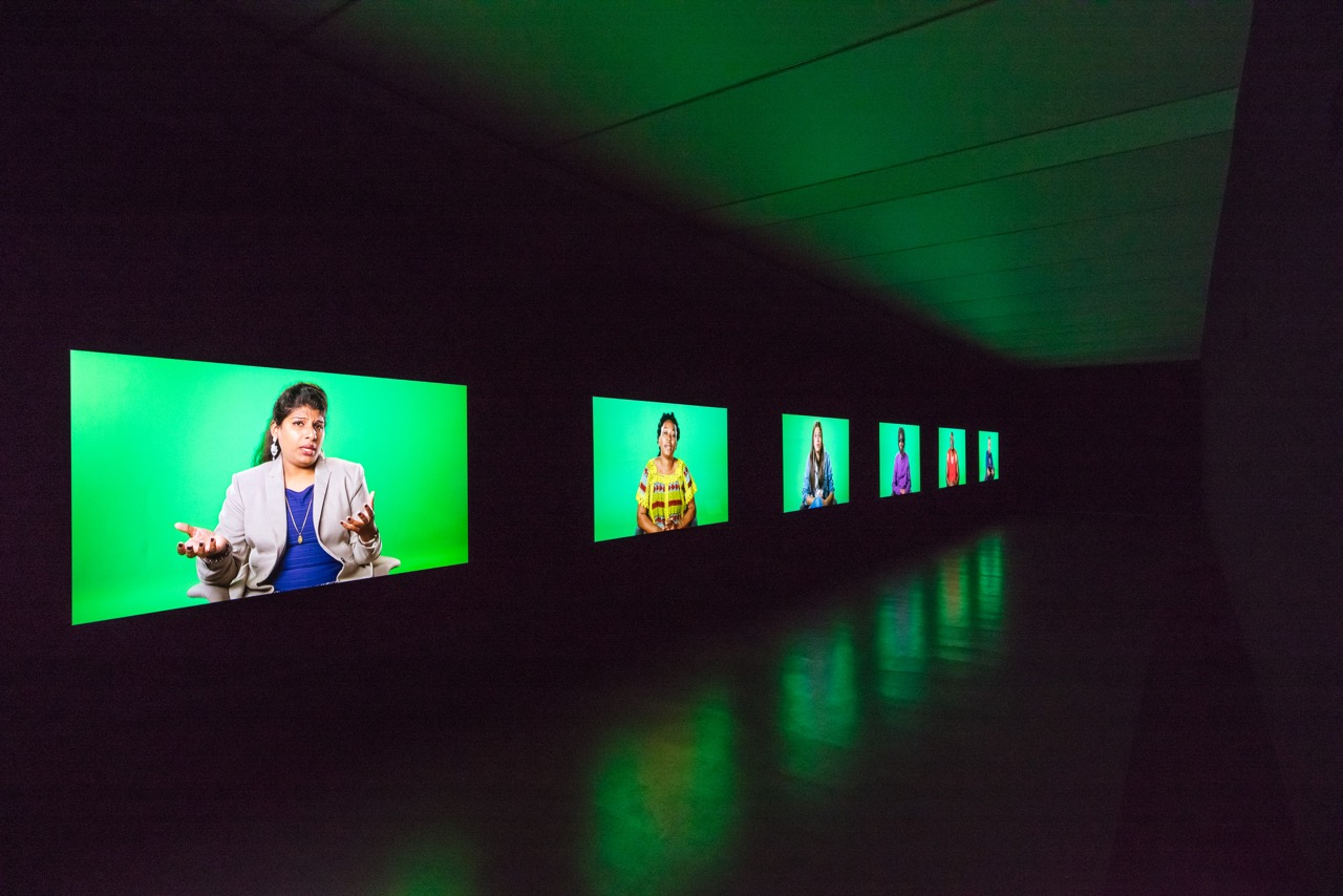 Candice Breitz Love Story, 2016 Featuring Julianne Moore and Alec Baldwin. Left to Right: Shabeena Francis Saveri, Mamy Maloba Langa, Sarah Ezzat Mardini, Farah Abdi Mohamed, José Maria João, Luis Ernesto Nava Molero. 7-Channel Installation: 7 Hard Drives Commissioned by the National Gallery of Victoria (Melbourne), Outset Germany (Berlin) + Medienboard Berlin-Brandenburg. Installation View: Kunstmuseum Stuttgart Photograph: Die Arge Lola