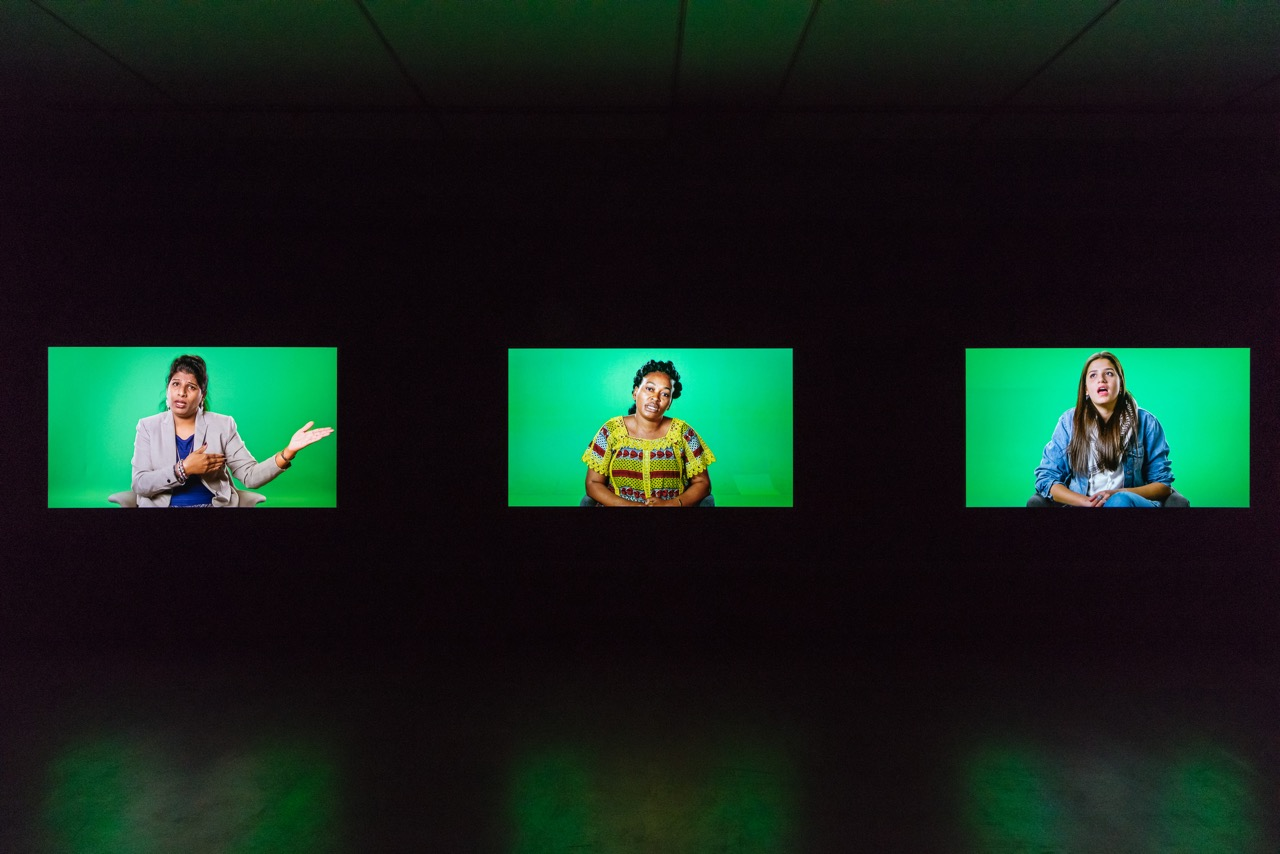 Candice Breitz Love Story, 2016 Featuring Alec Baldwin and Julianne Moore. Right to Left: Farah Abdi Mohamed, José Maria João, Luis Ernesto Nava Molero. 7-Channel Installation: 7 Hard Drives Commissioned by the National Gallery of Victoria (Melbourne), Outset Germany (Berlin) + Medienboard Berlin-Brandenburg. Installation View: Kunstmuseum Stuttgart Photograph: Die Arge Lola